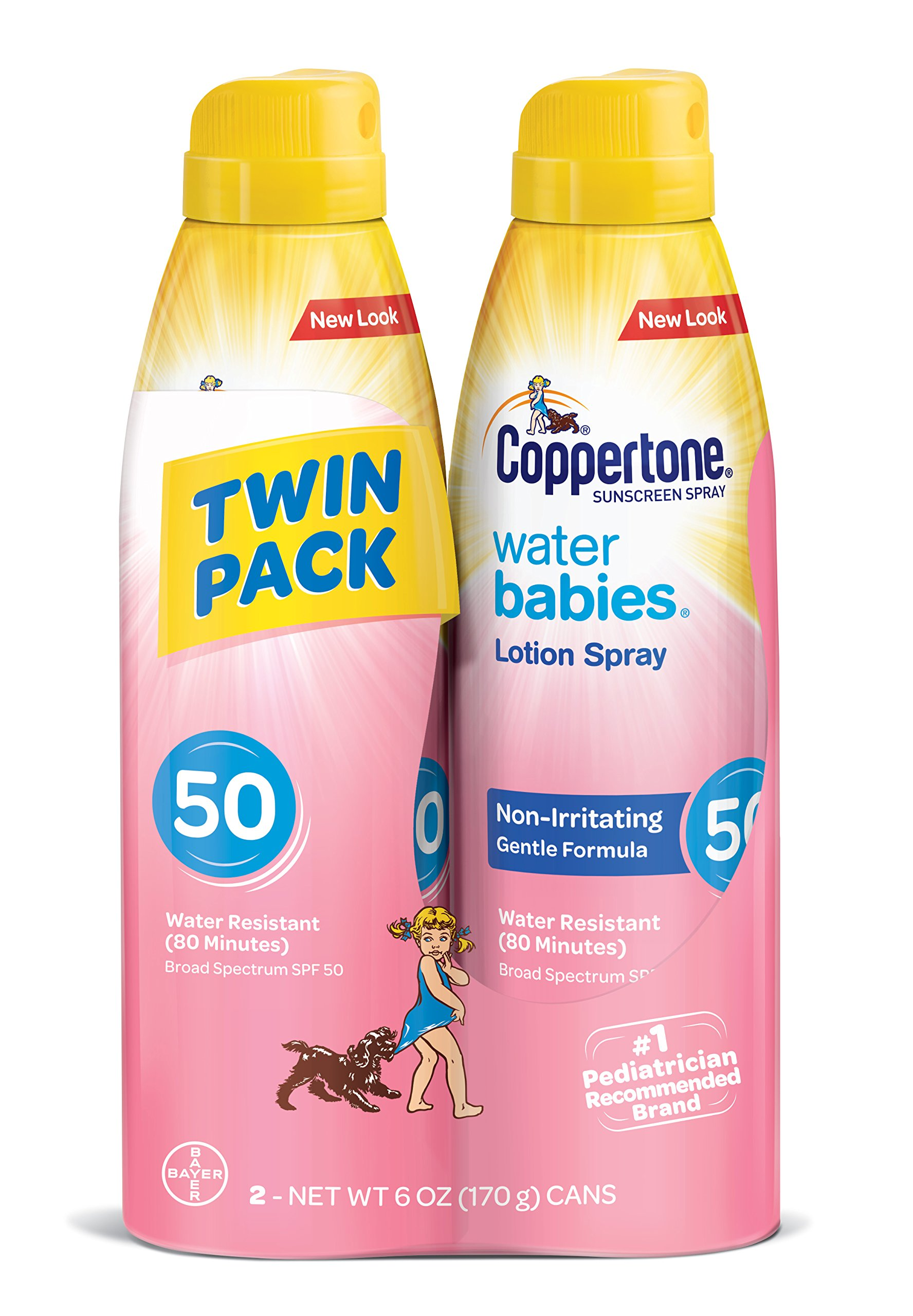 Coppertone WaterBabies Sunscreen Quick Cover Lotion Spray Broad Spectrum SPF 50 (6-Ounce Bottle, Twin Pack)