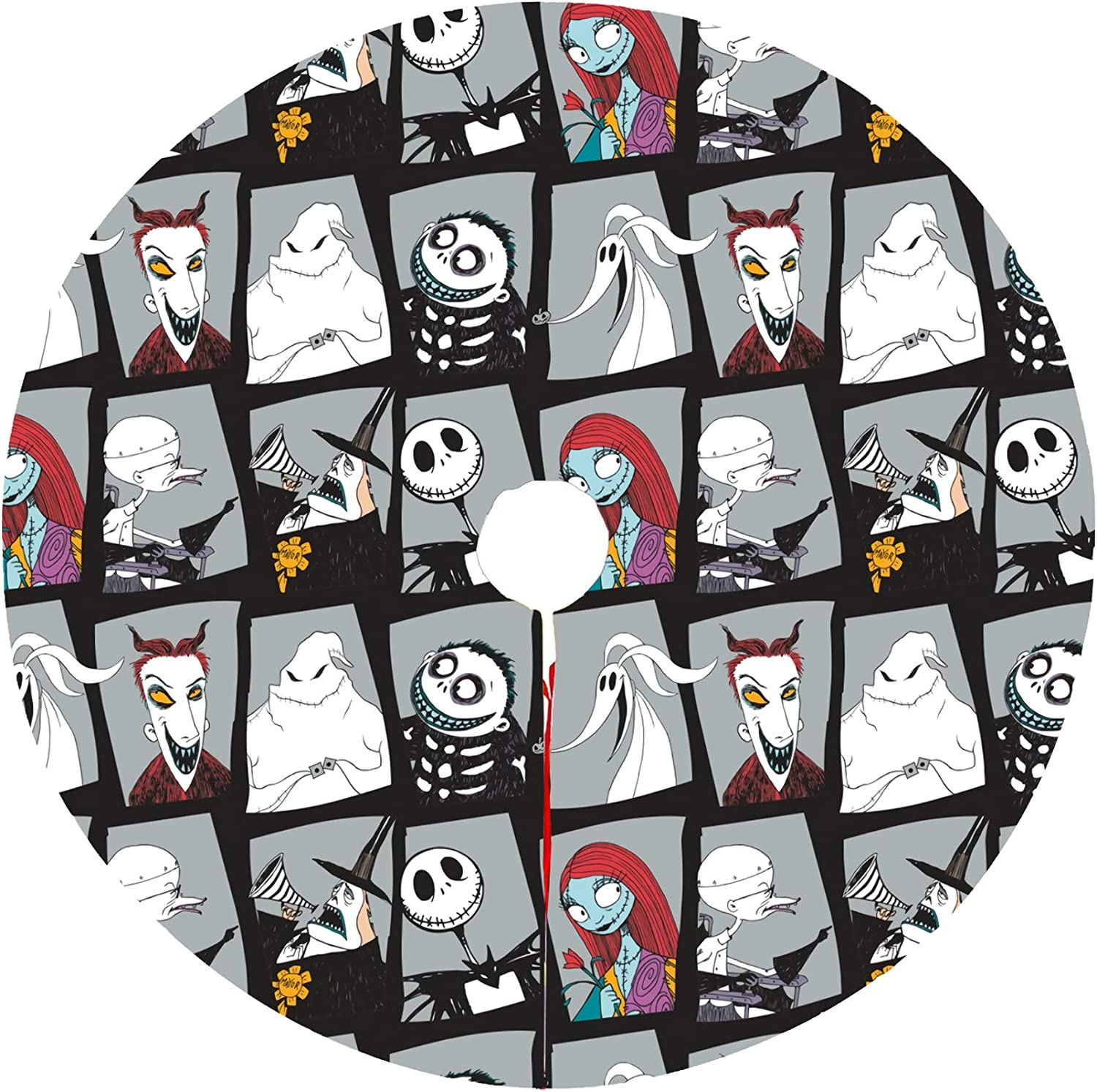Nightmare Before Christmas Tree Skirt Kits Mat Decorations Large Trees Group Soft And Light Easy To Put In Home Office For Xmas Halloween Holiday Party Decoration (Nightmare Christmas4, 30in)