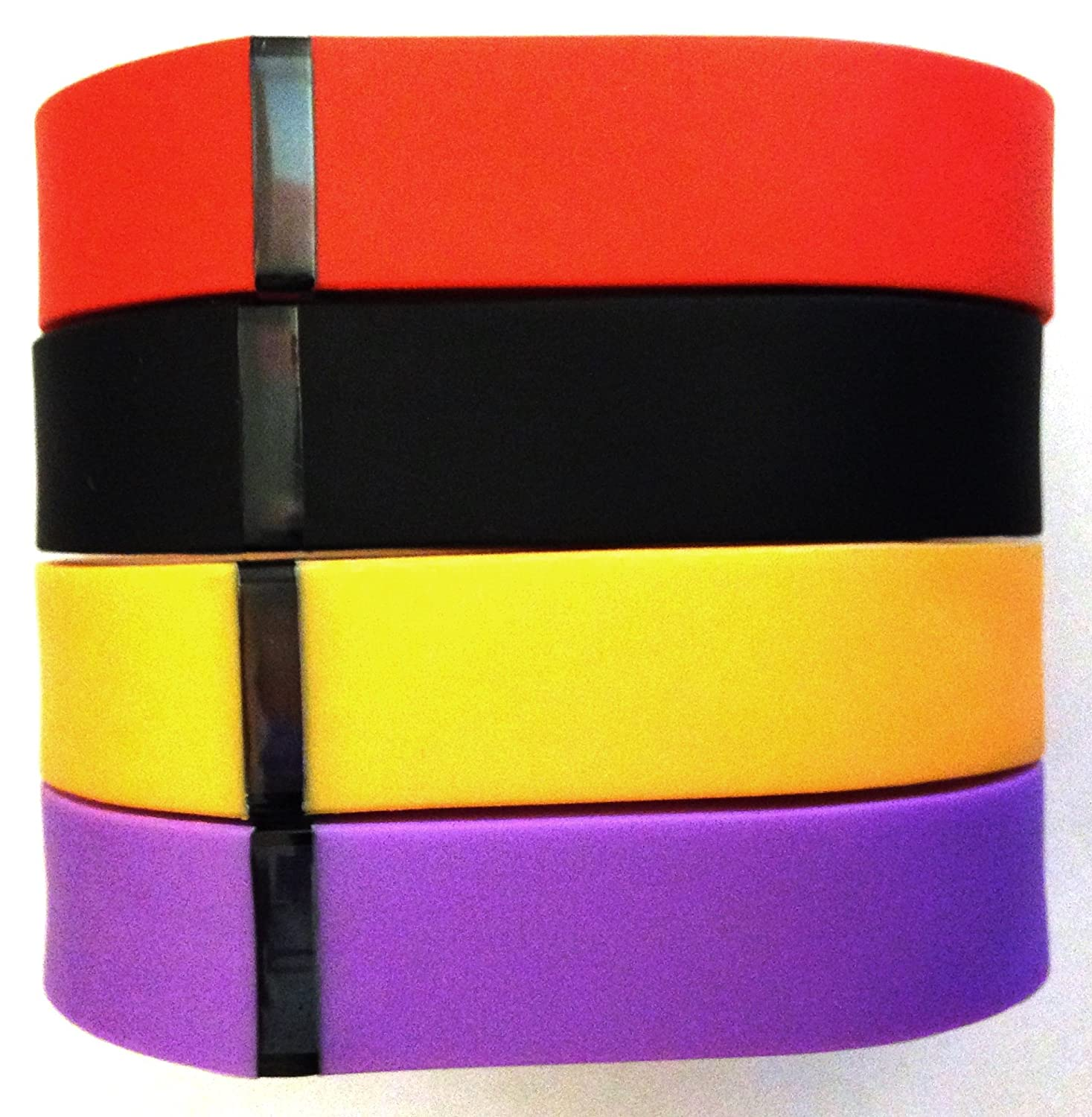Set Large L 1pc Orange 1pc Violet 1pc Red (Tangerine) 1pc Black Replacement Bands for Fitbit FLEX Only With Clasps /No tracker/ Wireless Activity Bracelet Sport Wristband Fit Bit Flex Bracelet Sport Arm Band Clasp Armband