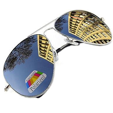 MFAZ Morefaz Ltd Hombre Mujer Polarizado Gafas De Sol Estilo Piloto Silver Black (Silver)