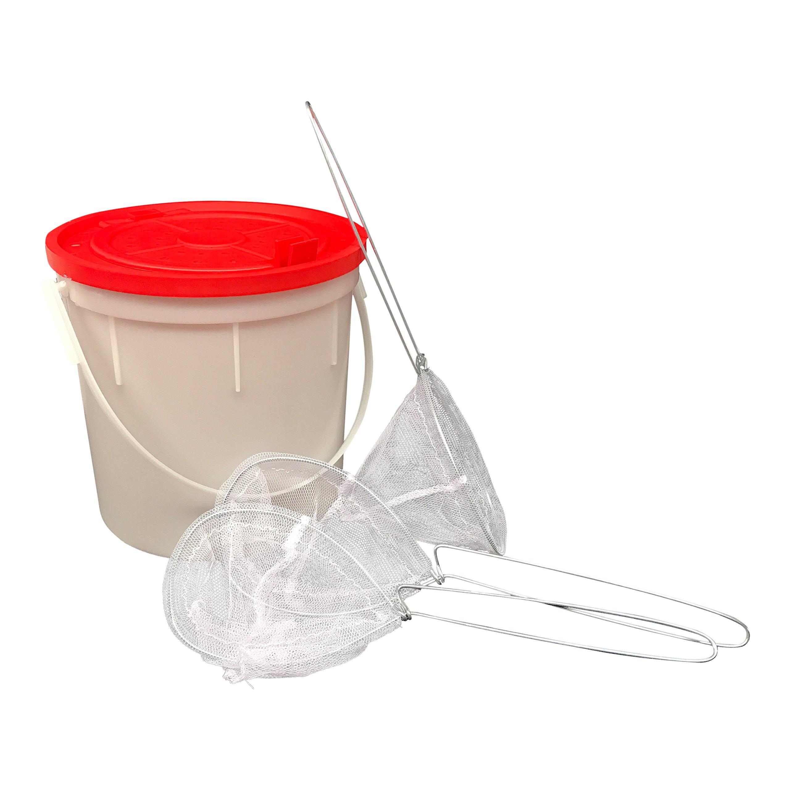 Challenge Plastics Bait Bucket - Fishing Bait Bucket with 3 Minnow Bait Fish Nets