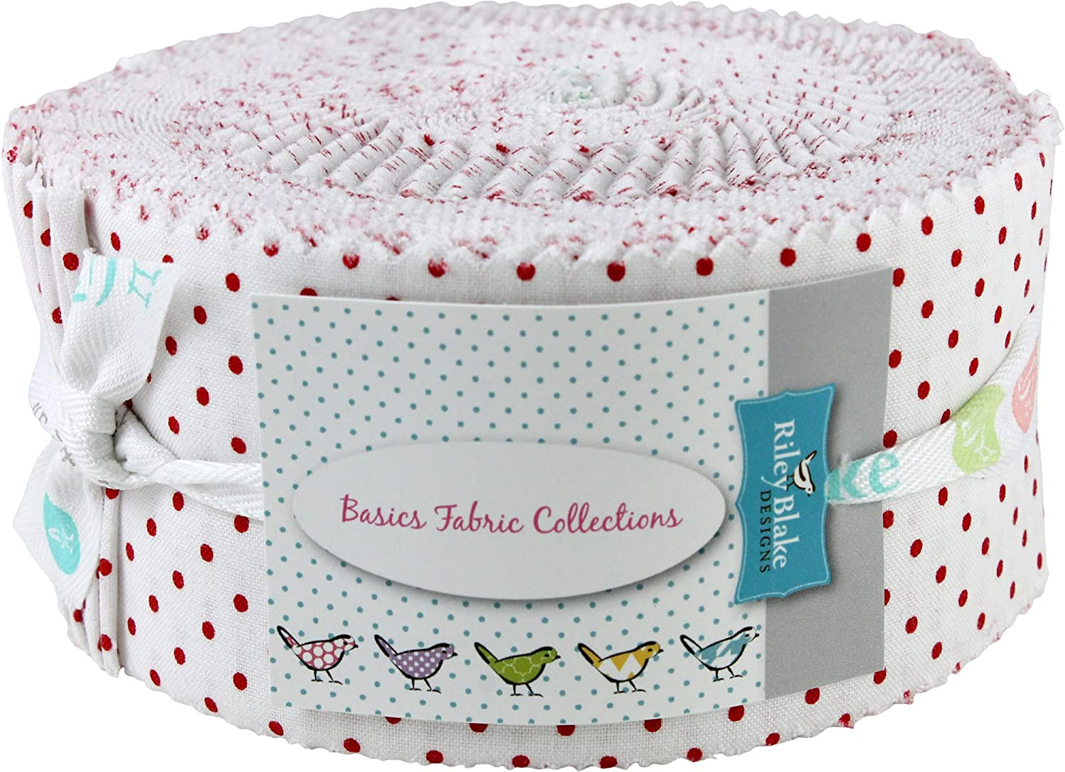 Swiss Dot on White Red Rolie Polie 40 2.5-inch Strips Jelly Roll Riley Blake Designs RP-660-80-40