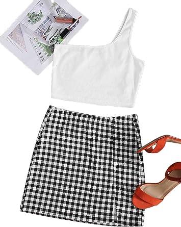 Floerns Conjunto de 2 piezas para mujer con un hombro y minifalda a cuadros