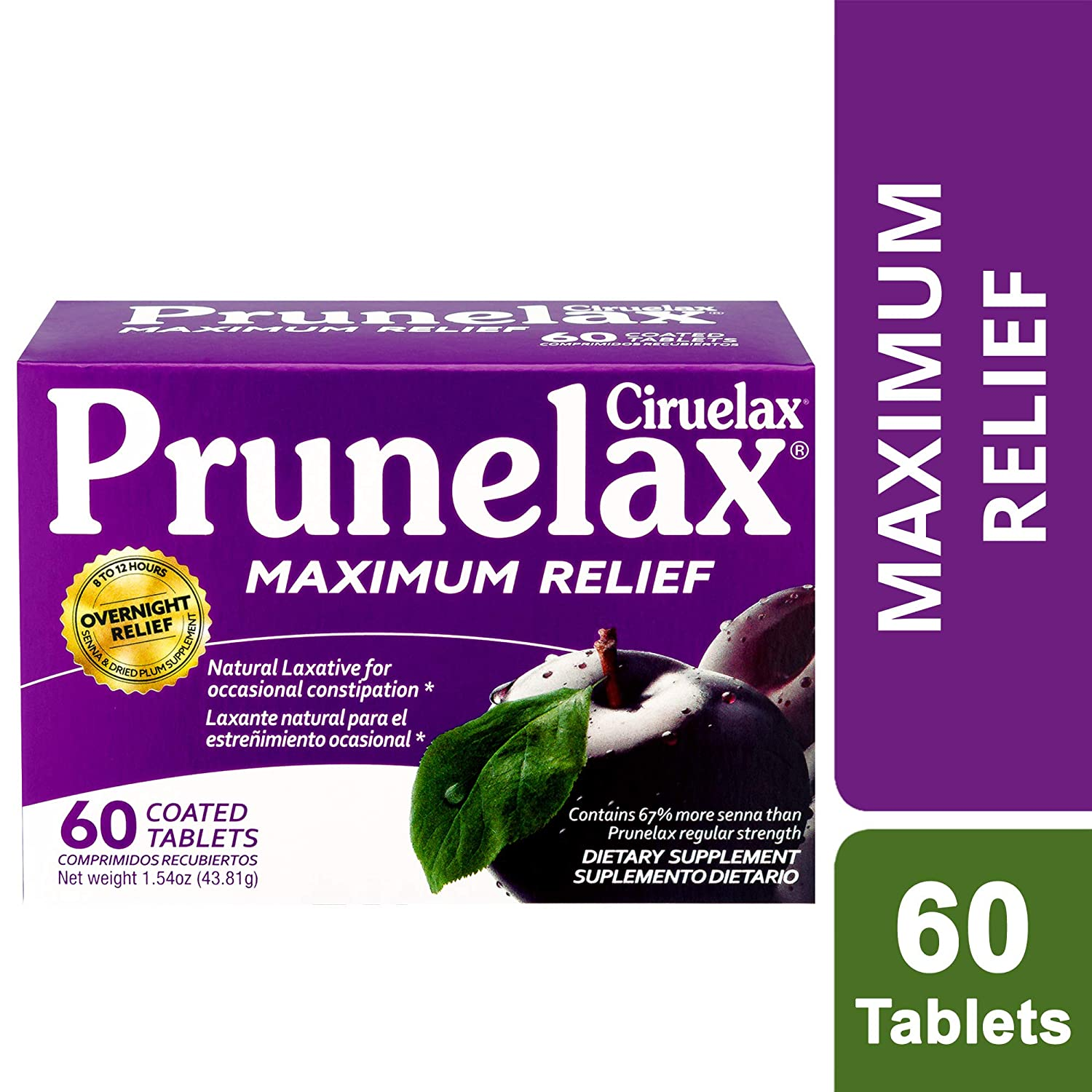 Amazon.com: Prunelax Ciruelax Natural Laxative Maximum Relief Tablets, 60Count, Pack of 6: Health & Personal Care