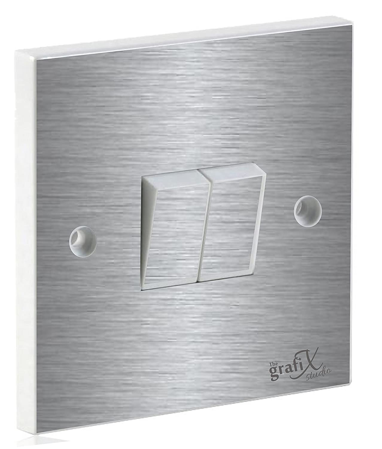 Brushed Silver Double Light Switch Sticker Vinyl / Skin cover