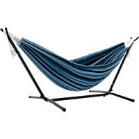 Vivere UHSDO9-34 Double Cotton Hammock with Space Saving Steel Stand, Blue Lagoon (450 lb Capacity - Premium Carry Bag…