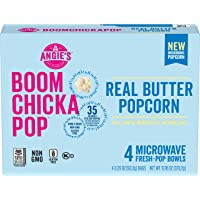 Angie's BOOMCHICKAPOP Real Butter Microwave Popcorn Fresh-Pop Bowls, (Each 4 Count of 3.29 oz Bags) 13.16 oz, Pack of 6