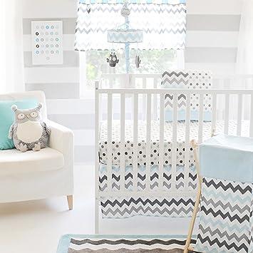 Amazon Com My Baby Sam Chevron 3 Piece Crib Bedding Set Aqua Gray