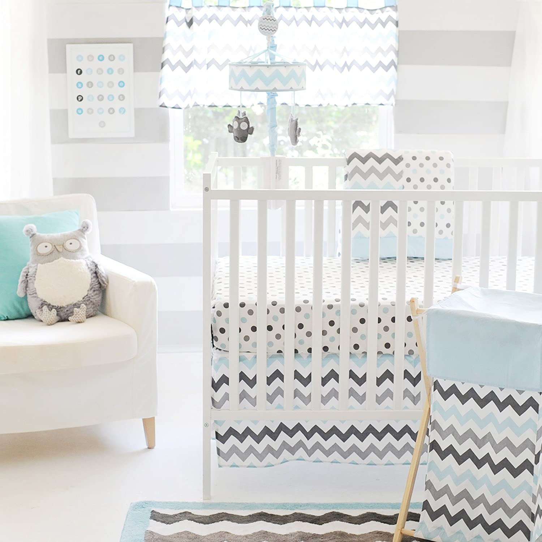 Amazon.com : My Baby Sam Chevron 15 Piece Crib Bedding Set, Aqua ...