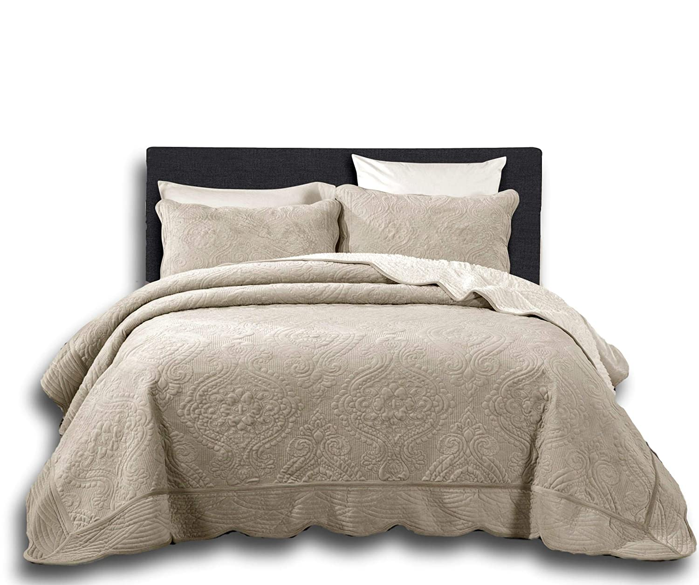 DaDa Bedding Elegant Fleece Sherpa Bedspread - Scalloped Embossed Floral Pattern Blanket Set - Soft Cozy Warm Tan Beige - Queen - 3-Pieces