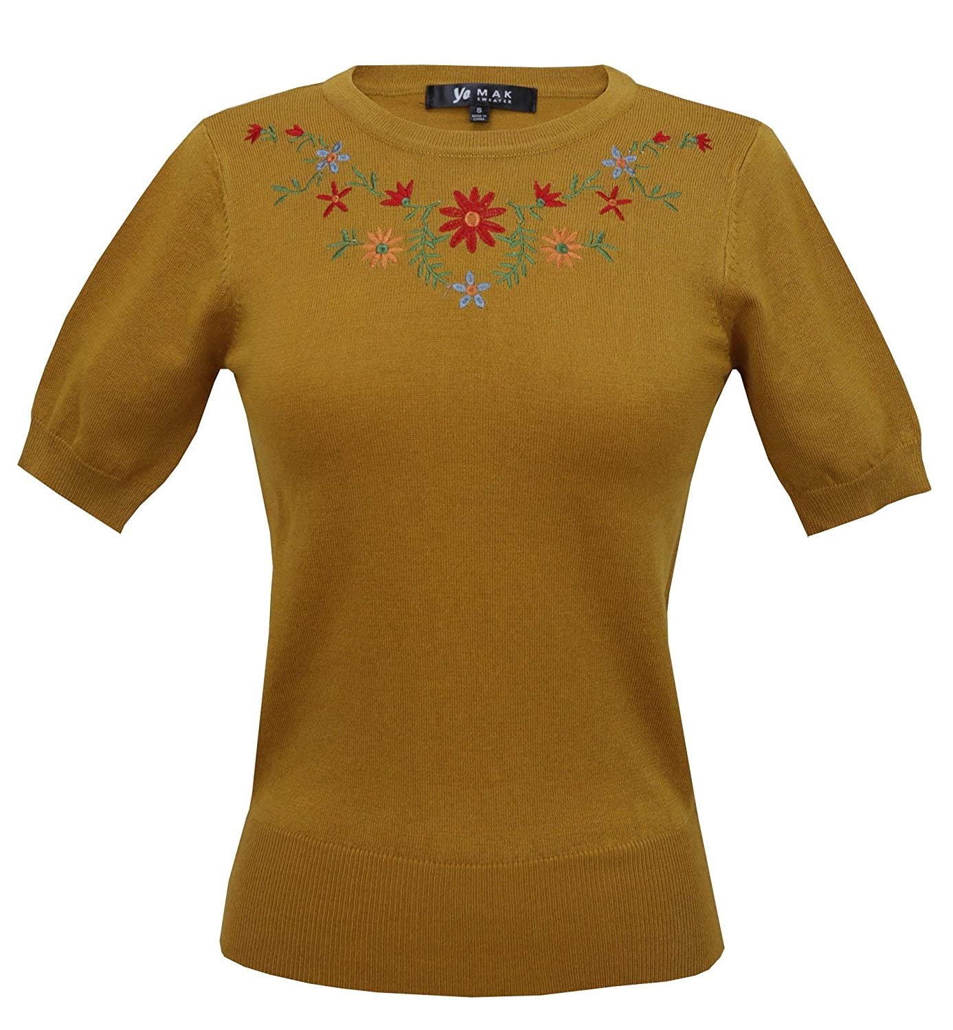 YEMAK Womens Daisy Flower Embroidered Crewneck Casual Knit Pullover Sweater