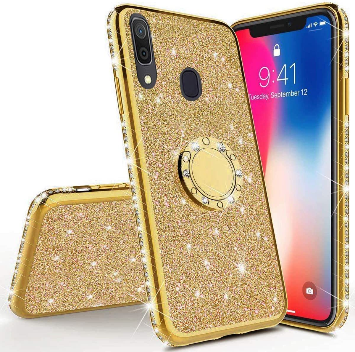 Herbests Compatible with Samsung Galaxy A30 Glitter Case Sparkly Bling Rhinestone Diamond Soft TPU Crystal Clear Flexible Protective Cover with Finger Ring Grip Holder Stand,Gold