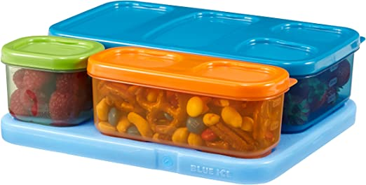 Rubbermaid LunchBlox Kids Lunch Box Container Set Flat Assorted Colors 1866736