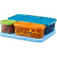 Rubbermaid 1866737 LunchBlox Kid's Flat Lunch Box Kit, Blue/Orange/Green