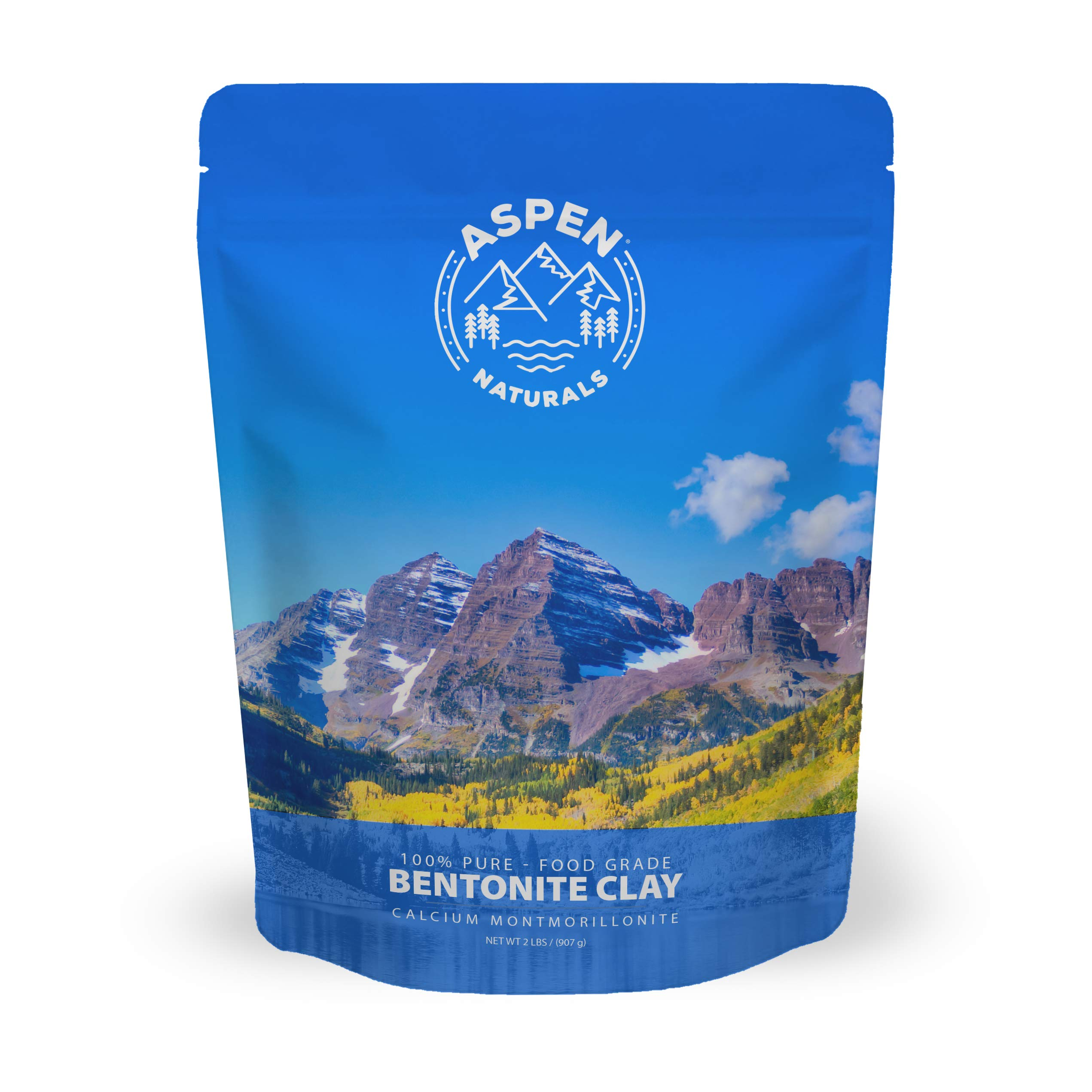 Food Grade Calcium Bentonite Clay - 2 LB Bentonite Montmorillonite Powder - Safe to Ingest for The Ultimate Internal Detox or Make a Clay Face Mask for The Best Natural Skin Healing Powder by Aspen Naturals®