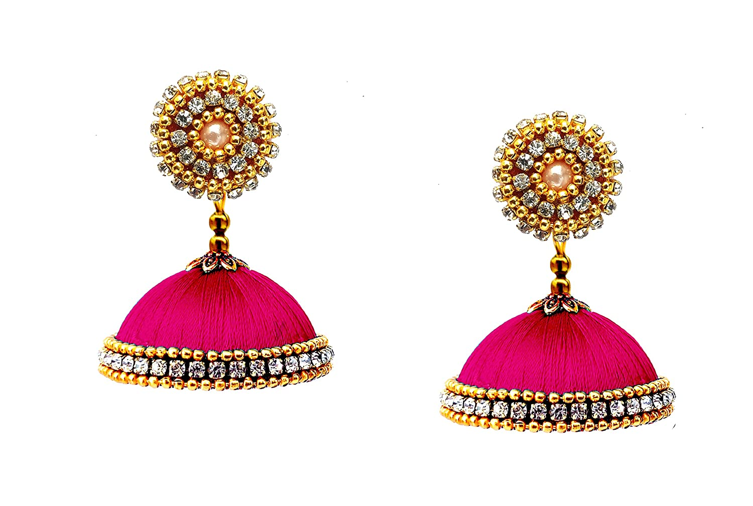 Pink Silk Thread Fabric Jhumki Earrings For Women