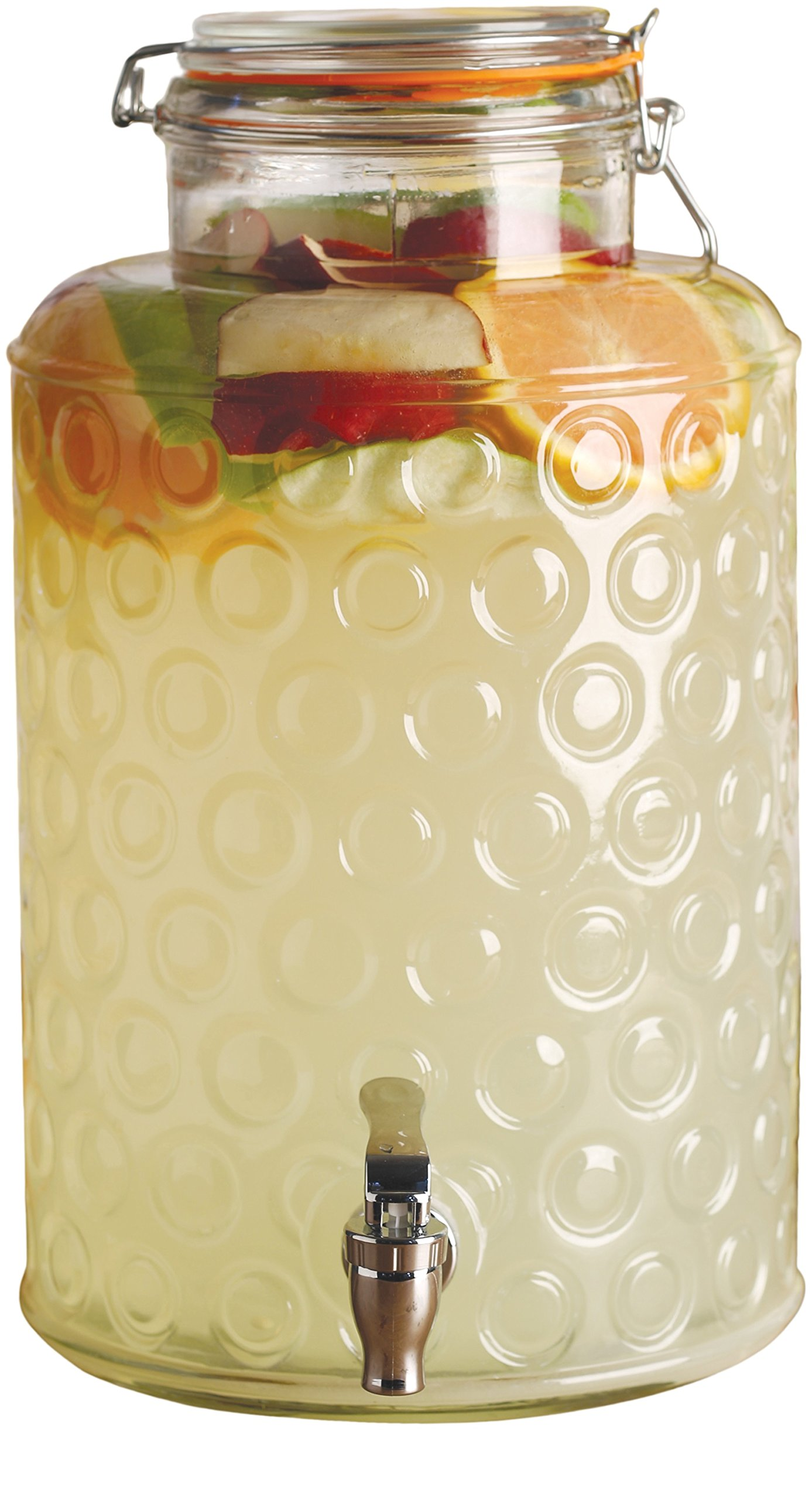 Circleware 69161 Circles Glass Beverage Drink Dispenser with Hermetic Locking Lid Glassware for Water, Iced Tea Kombucha, Punch and All Type of Cold, 2.4 Gallons