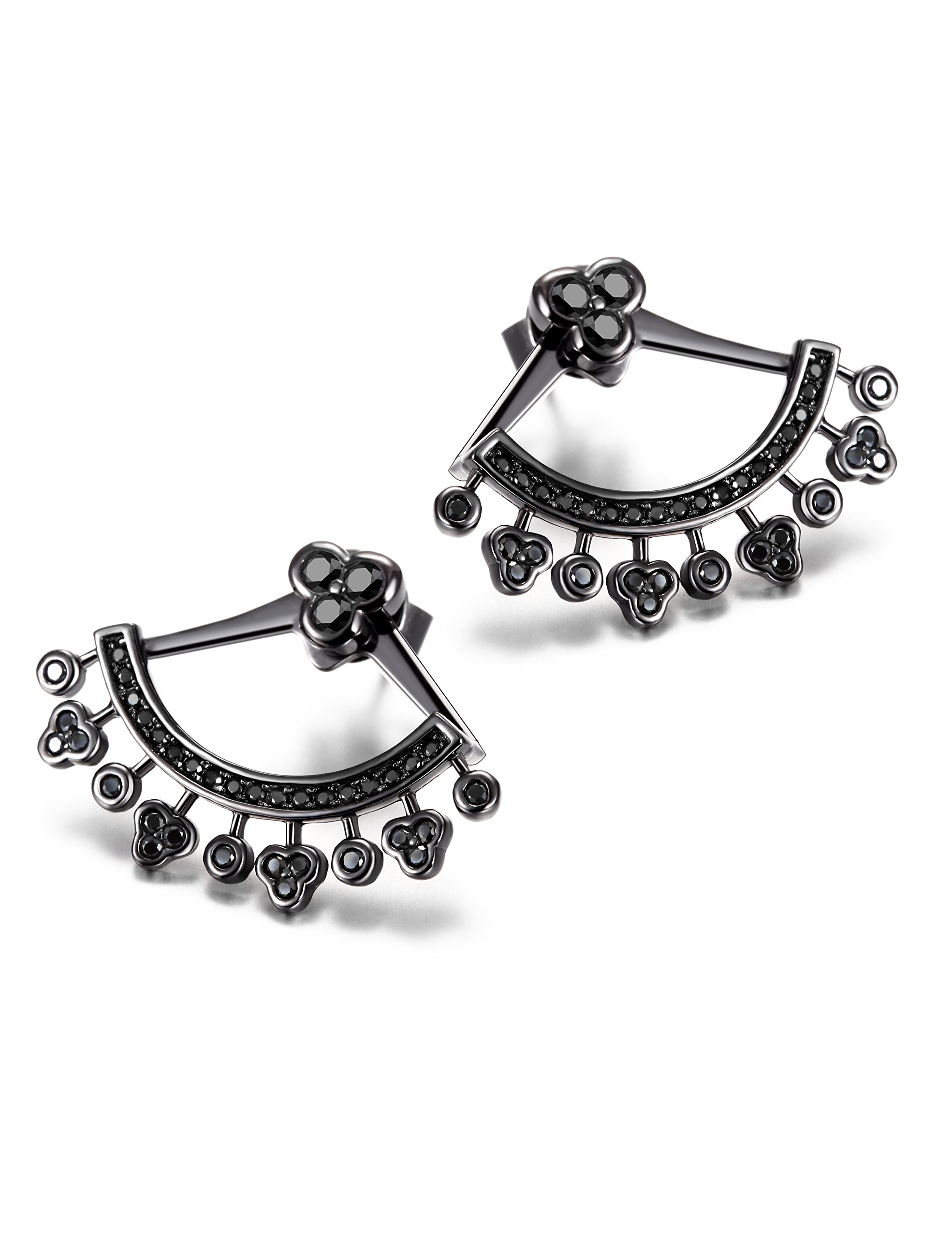 Wistic Sterling Silver Hollow Jackets Earrings Crystal Classics Stud Cuff Earrings For Women Girls(black)