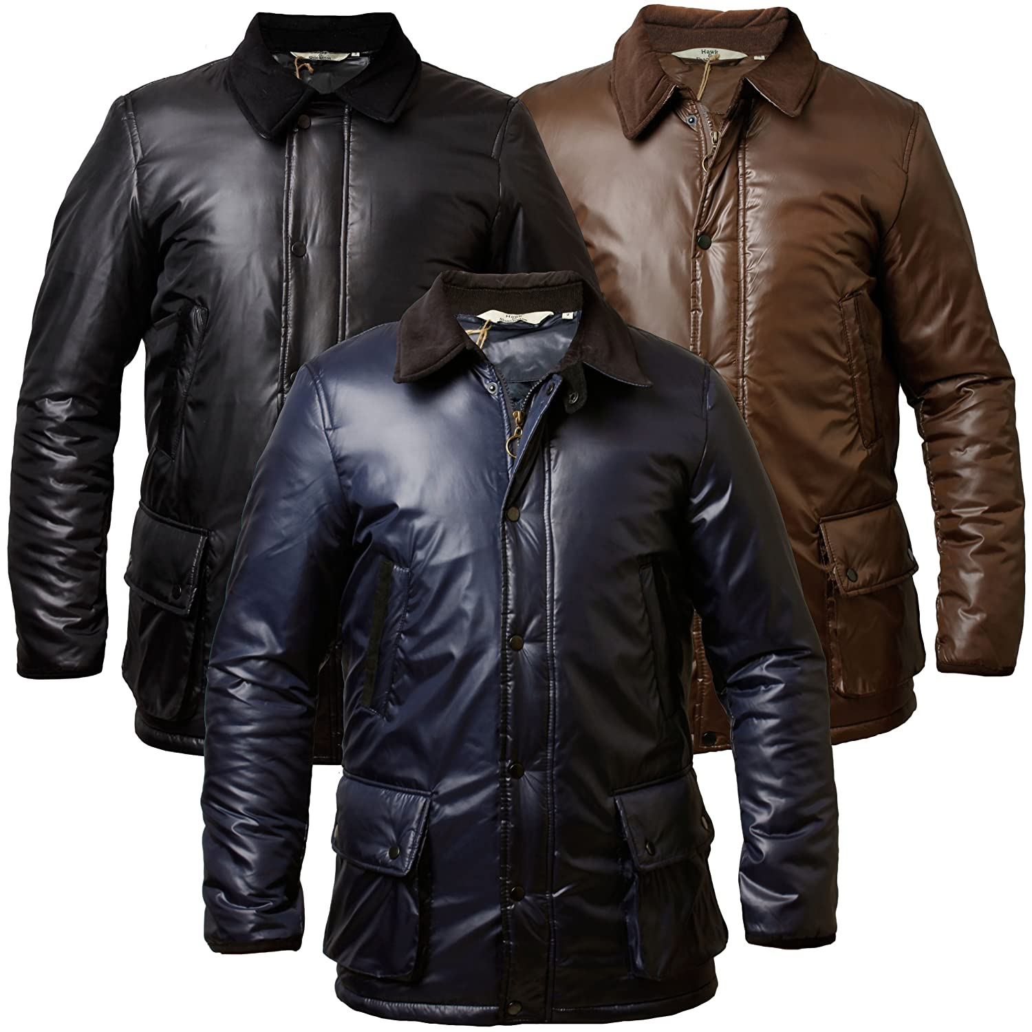 Hawk /& Shackleton Mens Padded Jacket Hunter Style Coat Cord Details