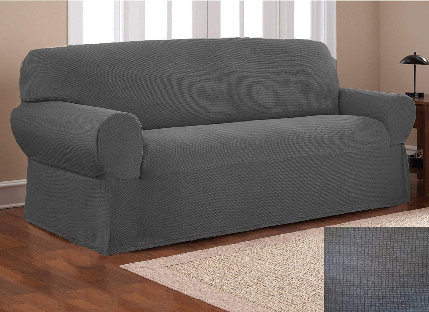 (2 pc Set, Charcoal/Dark Grey) - Fancy Collection Sure Fit Stretch Fabric Sofa Slipcover 2 Pc Sofa And Love Seat Covers Solid Dark Grey New Stella B0768MNCB7