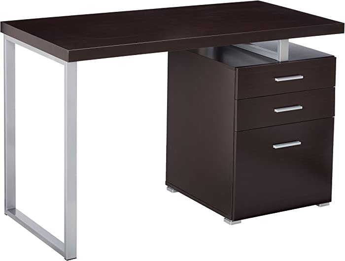 Office Desk with File Drawer and Reversible Set-Up Cappuccino