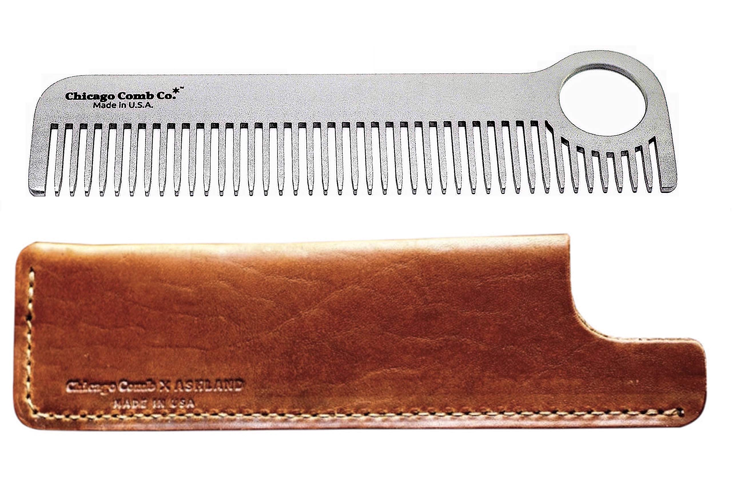 Chicago Comb Model 1 Stainless Steel + Horween Tan Leather Sheath, Made in USA, Ultra-Smooth, Durable, Anti-Static, 5.5 in. (14 cm) Long, Medium Tines, Ultimate Daily Use & Pocket Comb, Gift Set by Chicago Comb