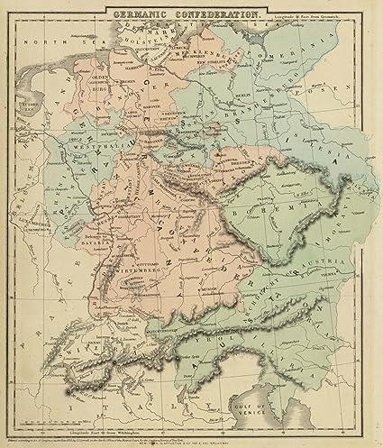 Amazon Com 1864 School Atlas Germanic Confederation Entered 1855
