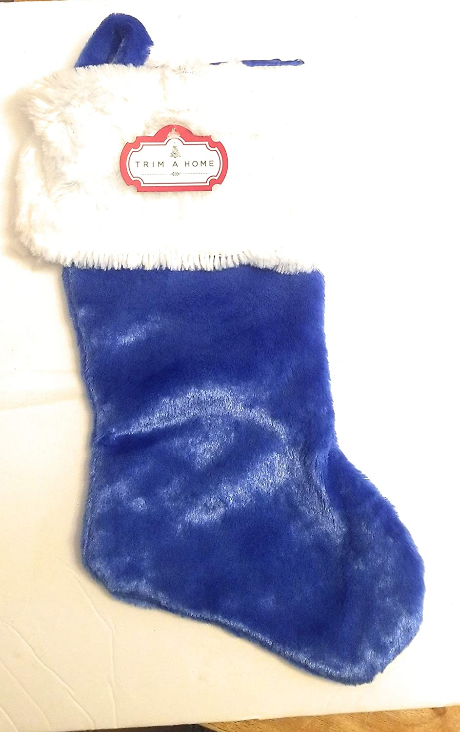 Trim A Home DanDee Holiday Christmas Blue White Plush Stocking Sock 17 Inches Mantel Decoration
