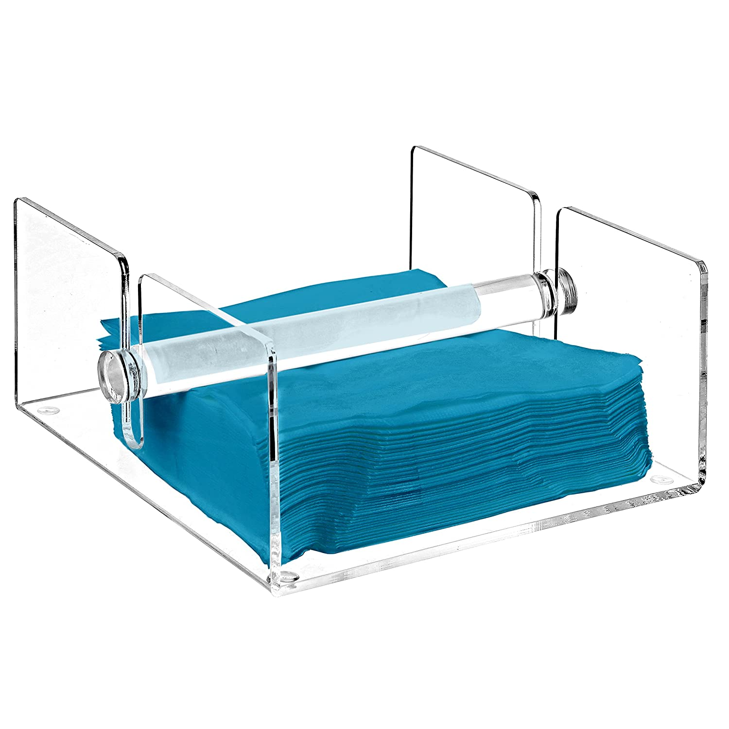 Modern Clear Acrylic Kitchen Napkin Holder Rack with Center Bar Weighted Arms - MyGift COMINHKPR91743