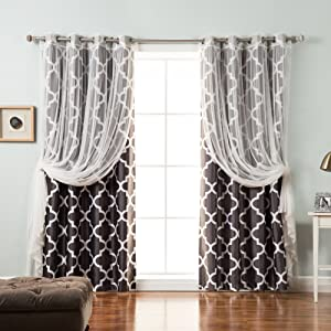 """Best Home Fashion uMIXm Mix and Match Tulle & Faux Silk Moroccan Blackout 4 Piece Curtain Set – Stainless Steel Nickel Grommet Top – Dark Grey – 52"""" W x 84"""" L – (2 Curtains and 2 Sheer Curtains)"""