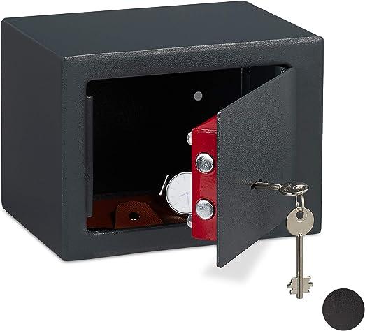 Relaxdays Caja Fuerte Pequeña, Mini Safe con Llaves, Seguridad ...