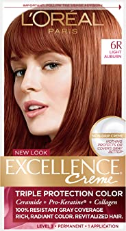 L'Oréal Paris Excellence Créme Permanent Hair Color, 6R Light Auburn (1 Kit) 100% Gray Coverage Hair Dye