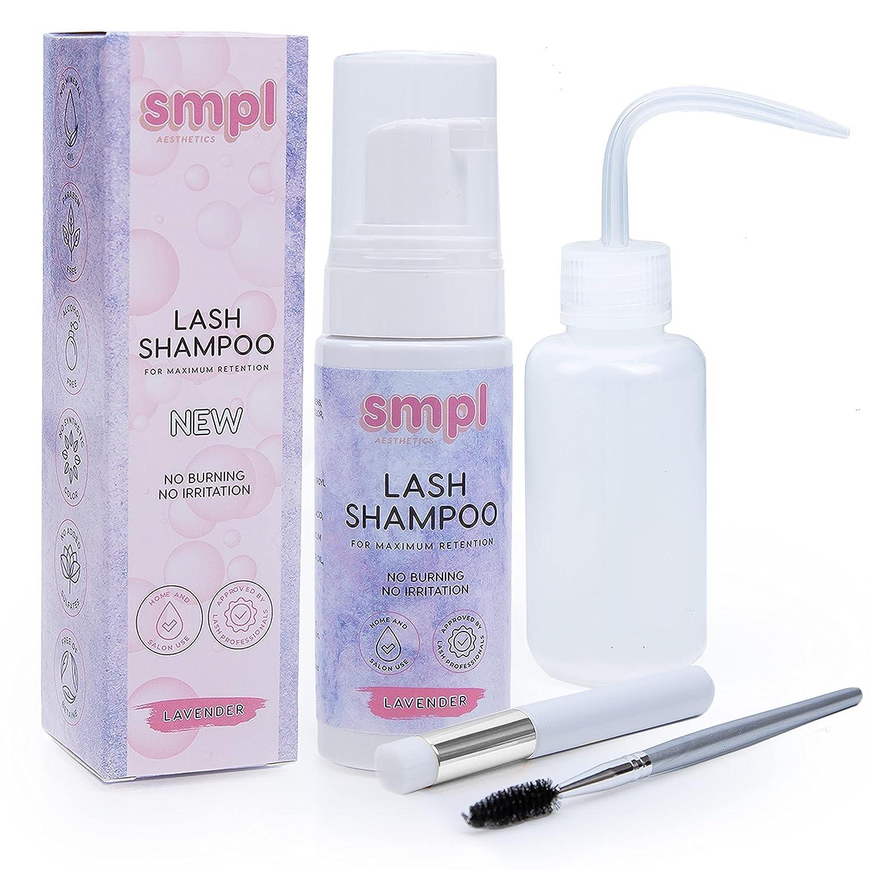 SMPL Aesthetics Eyelash Extension Shampoo Kit – Lash/Eyelid Cleanser for Extensions + Brush + Rinse Bottle + Free eBook – Sensitive Formula/Paraben & Sulfate Free – Makeup Remover/Primer: Beauty