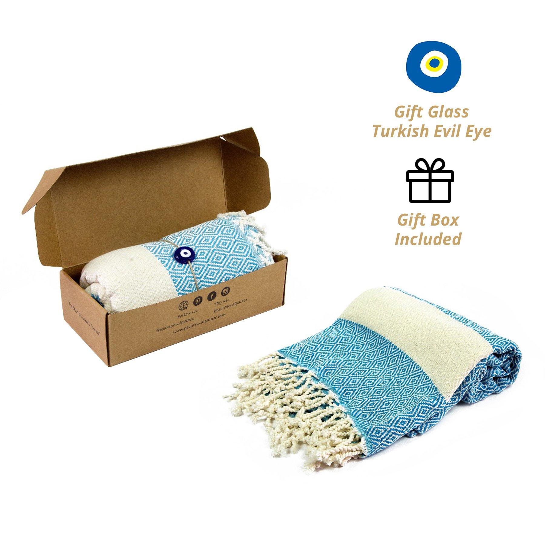 Peshtemal Palace %100 Turkish Cotton Diamond Pestemal Towel; Beach Towel, Natural Gift (71 inches x 39 inches)(Turquoise)