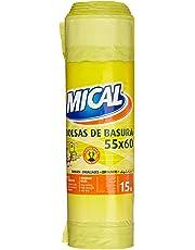 Mical Bolsas de Basura, 55 x 60 cm, Color Amarillo - 15 Unidades