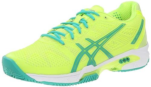 4e2af0849e2b ASICS Women s Gel Solution Speed 2 Clay Tennis Shoe Flash Yellow Mint Sharp  Green