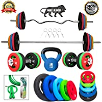 Kakss Best Home Gym Training (10 Kg to 200 Kg) Home Gym Set With Exclusive Made Of 100 % Top-Quality Cast Iron With Neoprene Coated Weight Plates with 3 ft Curl (25MM) + 5 ft Plain Rod (25MM) Home Gym Combo With BONUS SKIPPING ROPE & 4KG KETTLE-BELL !!!