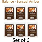 Hosley Candle Company Sensual Amber (Balance) Wax Cubes / Melts - Set of 6 / 2.5 oz each. Hand poured wax infused with essential oils.