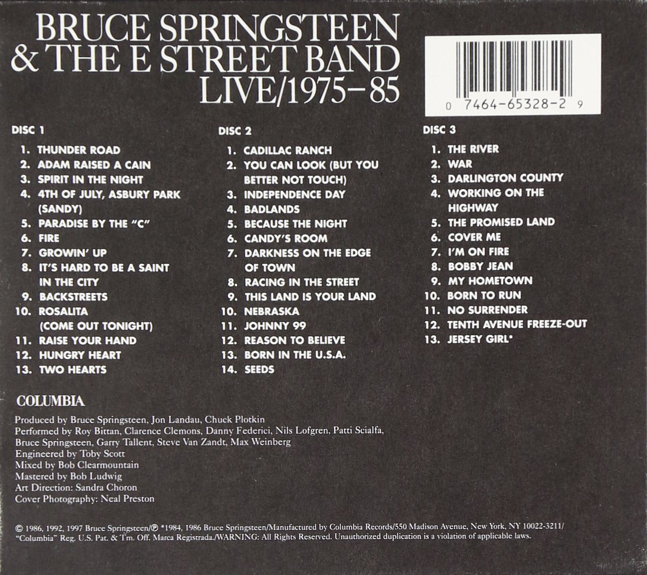 Bruce Springsteen The E Street Band Live 1975 85 3cd Amazon