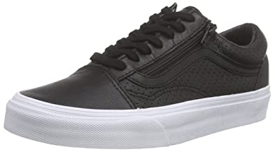 566ea783bcf2 Amazon.com | Vans Old Skool Zip Peforated Leather Black (5.5 Women ...
