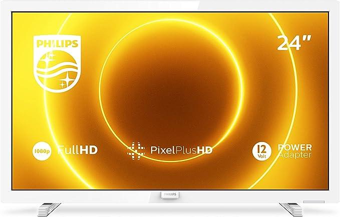 Televisor Philips 24PFS5535/12 24 Pulgadas (60 cm) TV LED (Full HD, Pixel Plus HD, Entrada de 12 V, HMDI, VGA, USB), Color Blanco (Modelo 2020/2021): Amazon.es: Electrónica