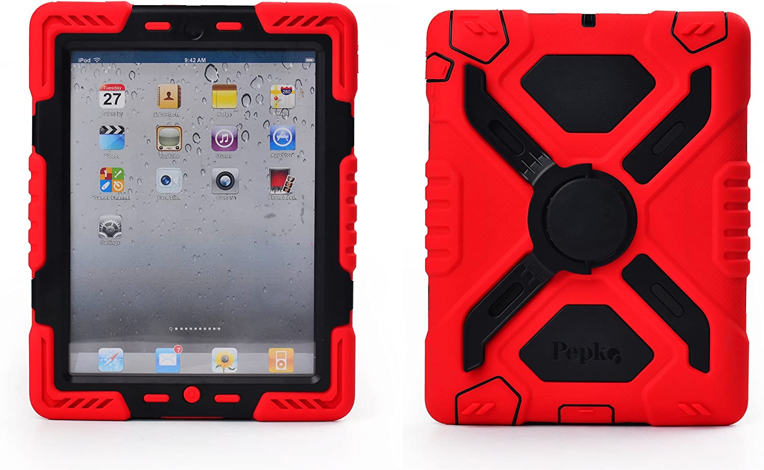 Pepkoo Ipad Mini 1& 2 Case Plastic Kid Proof Extreme Duty Dual Protective Back Cover with Kickstand and Sticker for Ipad Mini 1&2 - Rainproof Sandproof Dust-Proof Shockproof (Red/Black)