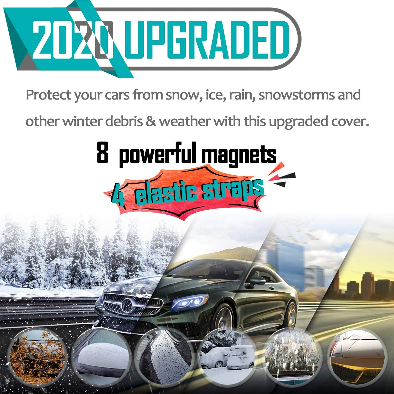 Windshield Snow Cover Magnetic Large Car Covers with 3 Layovers with 3 Layers Material Protection- Fit Any Car Keeps Ice /& Snow Off 2020 Newest Straps /& Magnets Double Fixed Design Windproof Outdoor Car Snow Covers