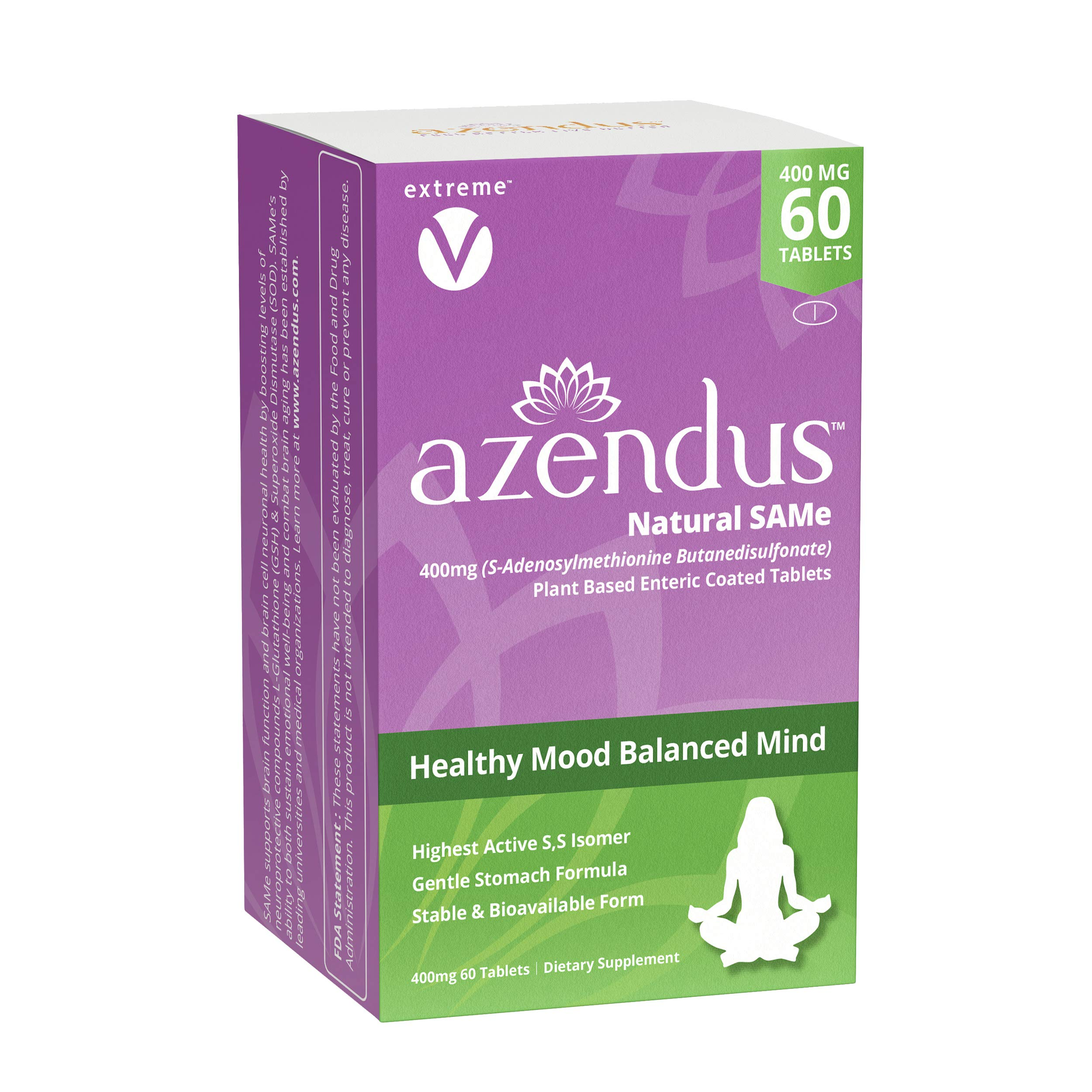 Azendus SAM-e Mood Support 400mg, 60 Count, Same Butanedisulfonate Fiber Enteric Coated Tablets, Physician Trusted, #1 Recommended Active Form