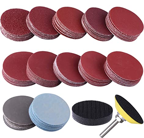 SIQUK 300 Pcs 2 Inch Sanding Discs with 1 pc 1//4 Inch Shank Backing Pad and 1 pc Soft Foam Buffering Pad 80 180 240 320 400 600 800 1000 2000 3000 Grit