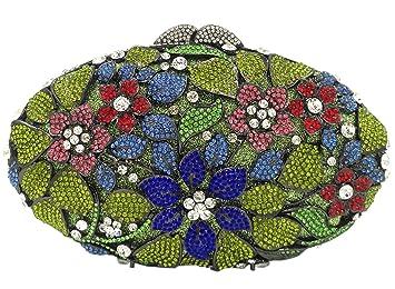 Bolso Mujer Noche Bolsas Fiesta Boda Carteras Brillo Mano Diamantes Cadena Embrague Flores Verde: Amazon.es: Equipaje