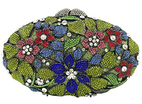 Bolso Mujer Noche Bolsas Fiesta Boda Carteras Brillo Mano Diamantes Cadena Embrague Flores Verde