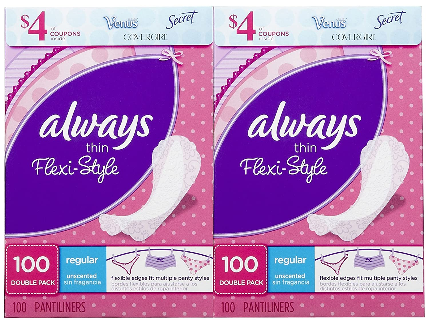 Amazon.com: Always Thin Flexi-Style Liners, Unscented - 100 ct - 2 pk: Health & Personal Care