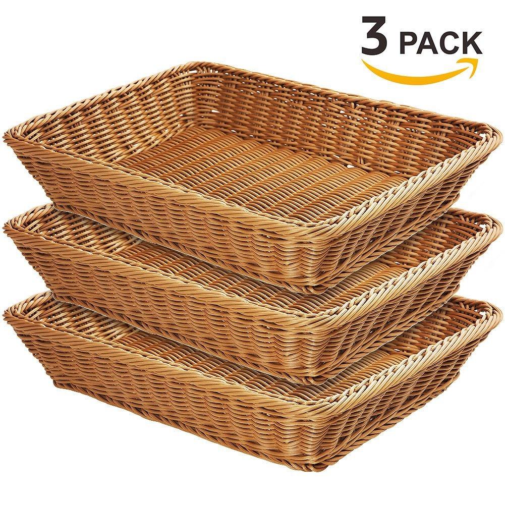 Wicker Bread Basket-YOLOGOSUN Woven Tabletop Food Fruit Vegetables Serving Basket, Restaurant Serving,Brown (3 PACKS)