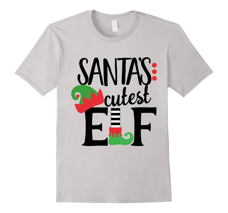 Cute Christmas T Shirt Teen Apparel Santas Cutest Elf Top-FL